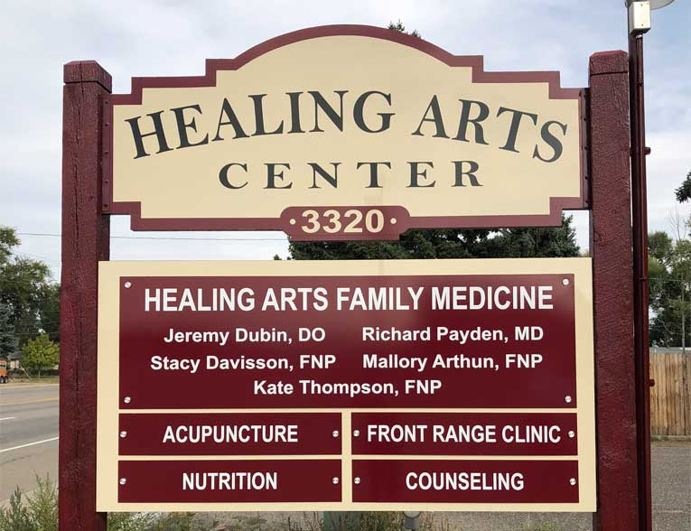 healing arts sign for acupuncture in Loveland